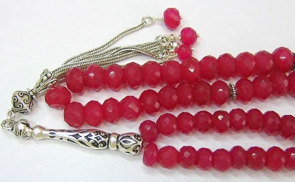 TESBIH WORRY BEADS SUBHA  66 FACETED RUBY & STERLING