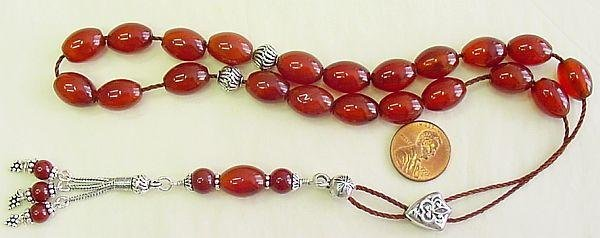 GREEK KOMBOLOI OVAL CARNELIAN AND STERLING WORRY BEADS