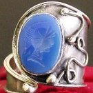 BLUE CHALCEDONY INTAGLIO STERLING V. SPECIAL RING