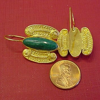 CRETAN EARRINGS VERMEIL/MALACHITE - The Swan