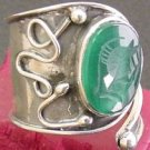 CHRYSOPRASE INTAGLIO UNUSUAL STERLING RING