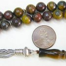 PRAYER BEADS TESBIH ROUND KOMBOLOI HAWK EYE & STERLING