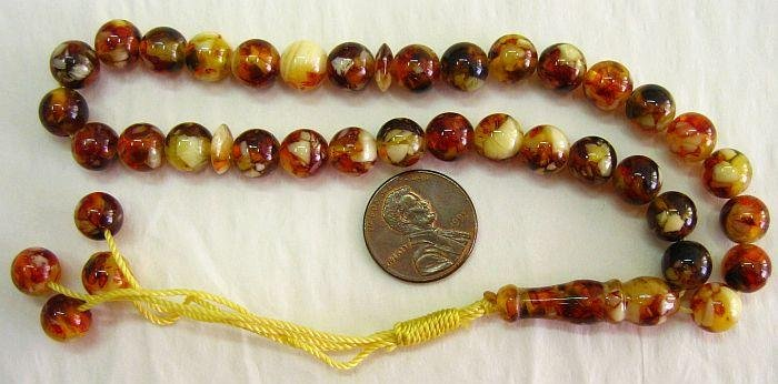 PRAYER WORRY BEADS REAL COGNAC AMBER + MOP- 33 ROUND