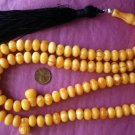 ISLAMIC LARGE PRAYER BEADS 99 BUTTERSCOTCH YELLOW AMBER