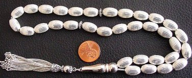 ISLAMIC PRAYER BEADS ALL STERLING -IMPRESSIVE AND HEAVY