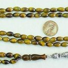 ISLAMIC PRAYER BEADS 99 OVAL TIGEREYE & STERLING