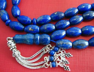 PRAYER BEADS KOMBOLOI COLLECTOR'S QUALITY OVAL AFGAN LAPIS & STERLING TASBIH