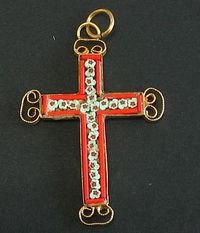 VINTAGE MICRO MOSAIC CROSS - 1960'S - No 18 NEW OLD STOCK - RARE AND PRISTINE