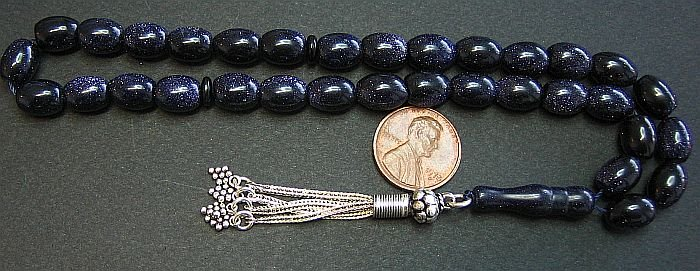 PRAYER WORRY BEADS KOMBOLOI BLUE GOLDSTONE AND STERLING - COMPLETE AND PERFECT