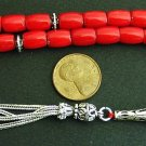 PRAYER BEADS TESBIH KOMBOLOI RED CORAL BARREL BEADS AND STERLING