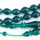 PRAYER BEADS TESBIH GREEN TURKISH AMBER CATALIN RARE COLOR SUPERIOR CARVING