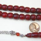 PRAYER BEADS TASBIH SQUARE BARREL BURGUNDY FATURAN