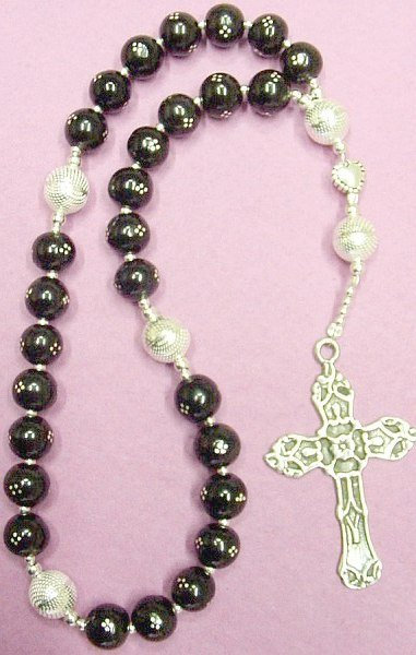 ANGLICAN  EPISCOPAL ROSARY PRAYER BEADS STUDDED JET & STERLING  Model A