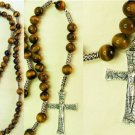 CATHOLIC ROSARY PRAYER BEADS TIGER EYE & STERLING