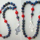 ANGLICAN EPISCOPAL ROSARY DENIM LAPIS CORAL & STERLING SILVER