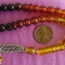 PRAYER WORRY BEADS KOMBOLOI GLASS GRADUATED AMBER COLOR