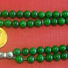 ISLAMIC PRAYER BEADS TESBIH 99 GREEN JADE & STERLING SILVER - by Tesbihci