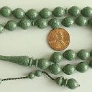 PRAYER BEADS KOMBOLOI ISLAM TESBIH MARBLED GREEN GALALITH -RARE- COLLECTOR'S