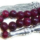 PRAYER WORRY BEADS GEBETSKETTE TESBIH KOMBOLOI LARGE GENUINE RUBY STERLING