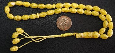PRAYER  BEADS REAL YELLOW AMBER + MOP- SMALL OVAL FANTASTIC NEW MATERIAL MIXTURE