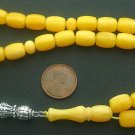 VINTAGE PRAYER BEADS BARREL RESIN EGG YOLK AMBER - 30+ YEARS OLD - COLLECTOR'S