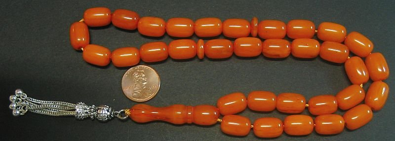PRAYER BEADS KOMBOLOI DARK ORANGE KAHRAMAN AMBER FATURAN LONG BARREL CUT VINTAGE