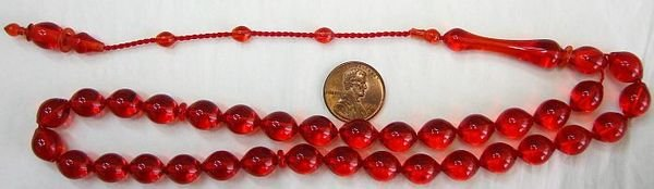 PRAYER BEADS SUPHA TESBIH 33 POMMEGRENADE TURKISH AMBER CATALIN