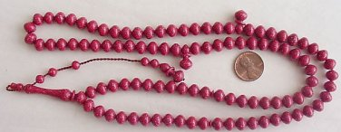 ISLAMIC PRAYER BEADS CHERRY SPECKLED GALALITH 99 BEADS - RARE COLLECTOR'S ITEM