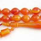 PRAYER BEADS WAVY ORANGE TURKISH AMBER SUFI SUPERIOR CARVING COLLECTOR'S ITEM