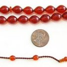 PRAYER BEADS COGNAC COLOR TURKISH AMBER SUFI  CARVING