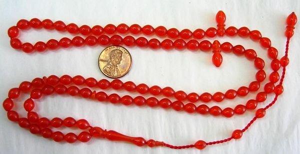 Prayer Beads Subha Tesbih 99 POMMEGRENADE TURKISH AMBER CATALIN