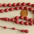 PRAYER BEADS KONMBOLOI TESBIH MARBLED CHERRY GALALITH  -RARE-  COLLECTOR'S