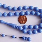 PRAYER BEADS KOMBOLOI TESBIH ISLAM MARBLED BLUE GALALITH -RARE- COLLECTOR'S