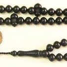 PRAYER BEADS  BLACK RESIN OTTOMAN CUT 99 BEADS SPECIAL PRICE - COLLECTOR'S