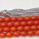 Islamic Prayer Beads 99 DARK ORANGE CORAL RARE COLOR PERFECT CUT - COLLECTOR'S