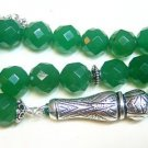 PRAYER BEADS TESBIH GEBETSKETTE LARGE FACETED GENUINE EMERALDS & STERLING
