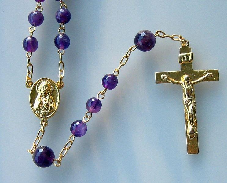 CATHOLIC CHAIN ROSARY PRAYER BEADS AMETHYST AND GOLD