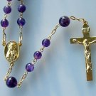 CATHOLIC CHAIN ROSARY PRAYER BEADS AMETHYST AND GOLD