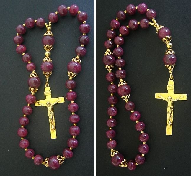 ANGLICAN EPISCOPAL ROSARY GENUINE RUBY AND GOLD