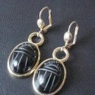 1950 PERIOD VINTAGE ONYX INTAGLIO SCARAB GOLD EARRINGS *UNUSUAL*