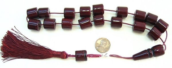 KOMBOLOI DEEP BORDEAUX FATURAN CUT BARREL +STERLING