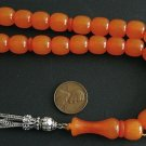 PRAYER BEADS KOMBOLOI BARREL TRANSLUCENT ORANGE FATURAN