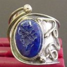 UNUSUAL STERLING RING WITH LAPIS INTAGLIO - UNIQUE
