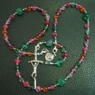 WEARABLE CATHOLIC ROSARY TOURMALINE & STERLING SILVER