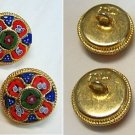 VINTAGE MICRO MOSAIC MILLLEFIORI 4 BUTTONS - NEW OLD STOCK -RARE- PRISTINE