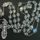 CATHOLIC CHAIN ROSARY PRAYER BEADS VINTAGE BOHEMIAN CRYSTAL AND STERLING SILVER