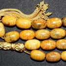 LUXURY PRAYER WORRY BEADS TESBIH AMBER COLOR FOSSIL CORAL AND VERMEIL RARE