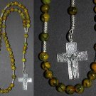 CATHOLIC ROSARY DRAGON VEINS AGATE & STERLING SILVER