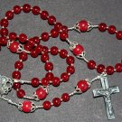 CATHOLIC ROSARY PRAYER BEADS GENUINE RUBY & STERLING