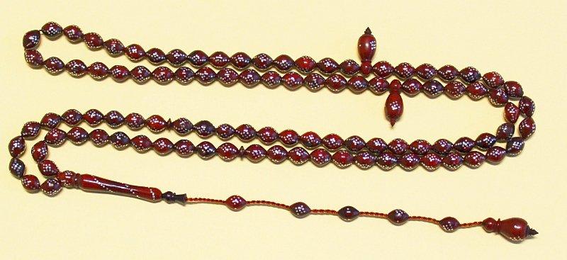 Islamic Prayer Beads Gebetskette Chapelet 99 KUKA  FINE STERLING STUDDING- RARE